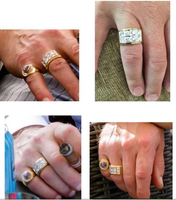 Raimo Andersson käytti näyttäviä koruja, kuten sormuksia.