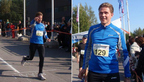 TUULETUS Valtiovarainministeri Jyrki Katainen saapui Rantamaratonin maaliin juuri ennen tavoittelemaansa neljän tunnin aikaa.