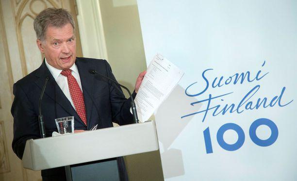 Tasavallan presidentti Sauli Niinistö kertoi tiistaina itsenäisen Suomen 100-vuotisjuhlavuoden suunnitelmistaan.