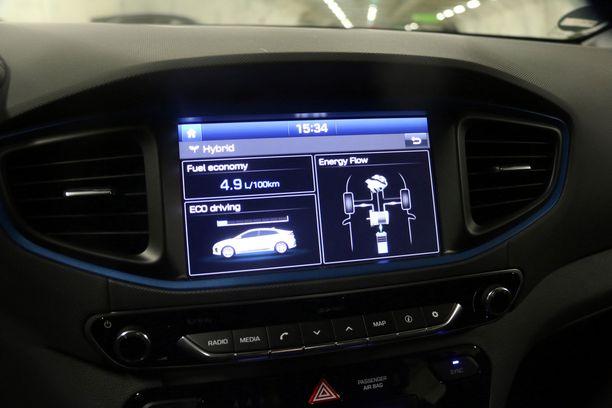 Keskinäyttöön voi valita näkymän, josta voi seurata milloin auto käyttää sähköä ja milloin polttomoottoria.