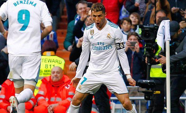 Kaksi maalia Getafen reppuun iskeneellä Cristiano Ronaldolla on koossa 16 osumaa, jotka oikeuttavat maalipörssin kolmospaikalle.