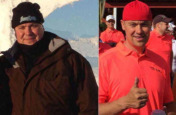 """Ennen ja jälkeen. 137 kilon lähtöpainosta on karissut noin 40 kiloa. """"80 voipakettin verran,"""" Jyrki Huttunen iloitsee. Painonpudotuksen myötä Jyrki Huttusen olo on energisempi niin työssä kuin vapaa-ajalla."""