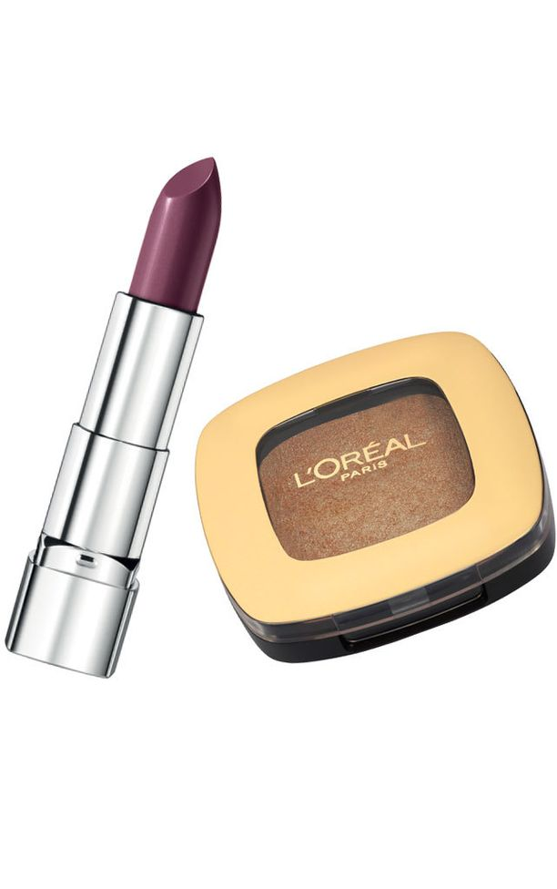 Rimmel Moisture Renew -huulipuna sävy 330 Sloane's Plum (7,90e) ja L'Oréal Paris Color Riche Mono-luomiväri sävy 200 Over the Taupe (11,90 e)