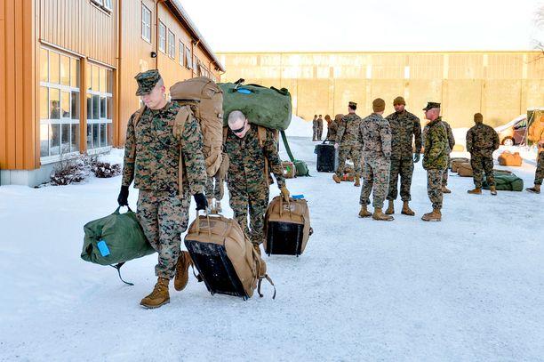 Amerikkalaissotilaat saapuivat Norjaan tammikuussa 2017.