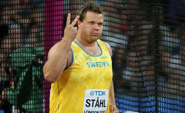 Ruotsin Daniel Ståhl oli kiekonheiton kakkonen kahden sentin erolla.