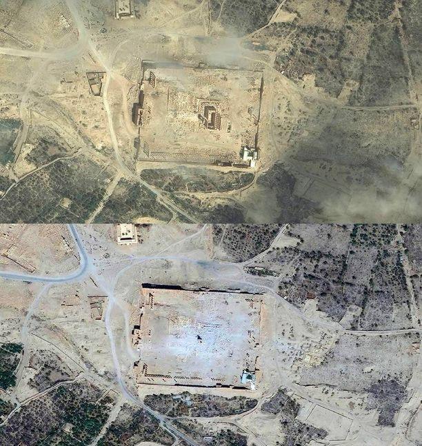 Ilmakuvissa näkyy Baalshaminin temppeli Palmyrassa kesäkuussa 2015 ja syyskuussa 2015. Palmyra oli muinoin eräs tärkeimmistä kulttuurikeskuksista. Isis on tuhonnut sen täysin.
