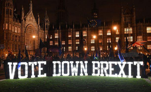 Mielenosoittajat vaativat parlamentin edessä uutta kansanäänestystä Britannian erosta EU:sta.