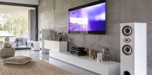 Kaiuttimet ja televisio sulautuisivat tässä kuvassa paremmin tilaan, jos seinä olisi valkoinen.