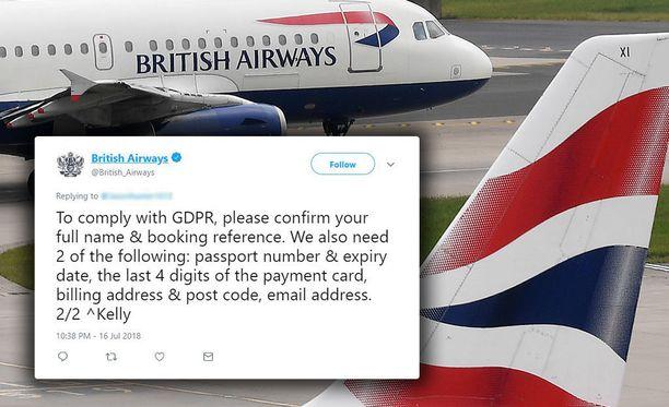 British Airways pyytää asiakkaitaan lähettämään tietonsa Twitterin välityksellä.