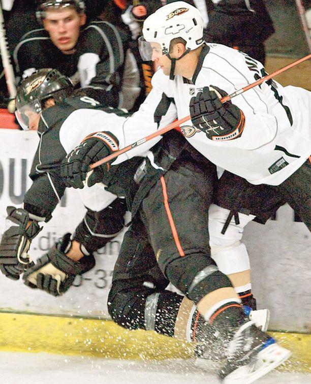 RUNTTAUS. Teemu Selänne kaatuu Rob Niedermayerin taklauksen voimasta Anaheim Ducksin harjoitusleirin toisena päivänä. Selänteellä ei tällä hetkellä ole vakuutusta loukkaantumisen varalta.