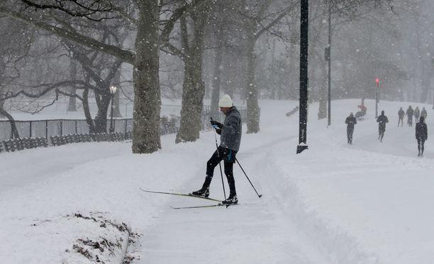 New Yorkissa hiihdettiin lauantaina.