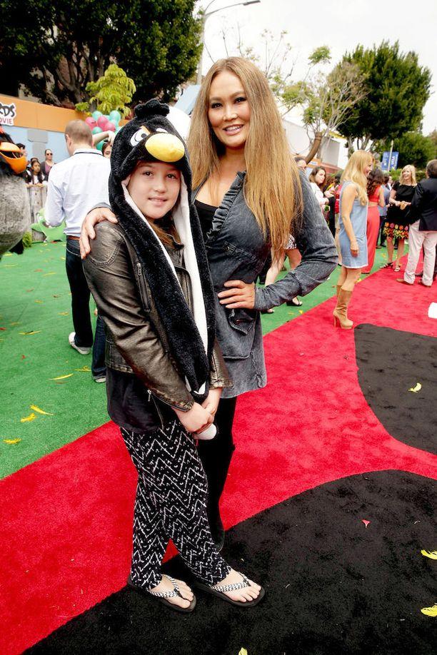 Äiti ja tytär Angry Birds -elokuvan ensi-illassa Los Angelesissa viime keväänä.
