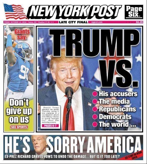 New York Post tuki Trumpia republikaanien esivaalissa. Presidenttikisassa lehti on pysytellyt hiljaa ja nautiskellut ehdokkaan skandaaleista. Lokakuun aikana Trump on komeillut kannessa kahdeksan kertaa