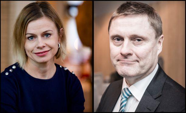 Panimo- ja virvoitusjuomaliiton toimitusjohtaja Riikka Pakarinen ja Veronmaksajain keskusliiton toimitusjohtaja Teemu Lehtinen.