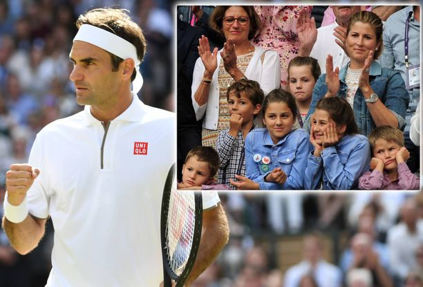 Roger Federerin lapset ja Mirka-vaimo kannustivat tenniskatsomossa. Keskellä kaksostytöt Myla ja Charlene, vaaleanpunaisissa paidoissa kaksospojat Leo ja Lenny.