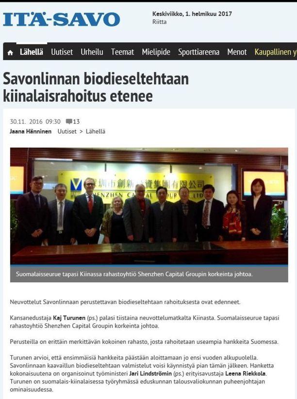 Riekkola ja eduskunnan talousvaliokunnan puheenjohtaja Kaj Turunen (ps) vierailivat viime vuoden marraskuussa Kiinassa. Matkalla lobattiin suomalaista bioenergiaosaamista.