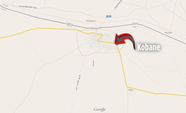 Kobanen kaupunki sijaitsee aivan lähellä Syyrian ja Turkin välistä rajaa.
