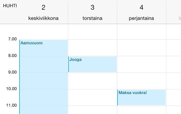4. Kalenteri aukeaa sivusuunnassa paljon selkeämmäksi.