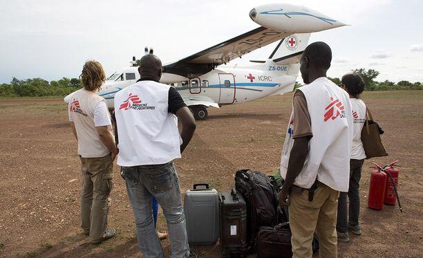 MSF:n työntekijöitä Keski-Afrikan tasavallassa.