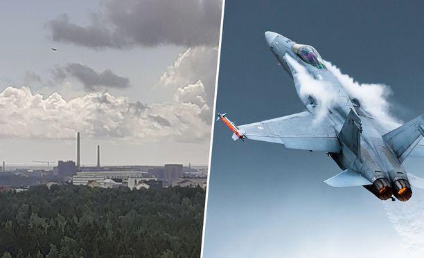 F/A-18 Hornet jyrähti Helsingin yli tänään kello 14:30.