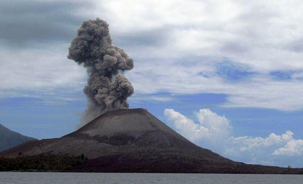Vuoden 1883 purkaus hävitti Krakataun kartalta, mutta se tilalle on syntynyt Anak Krakatau, Krakataun lapsi, joka on hyvin aktiivinen tulivuori. Kuva on tämän vuoden heinäkuulta.