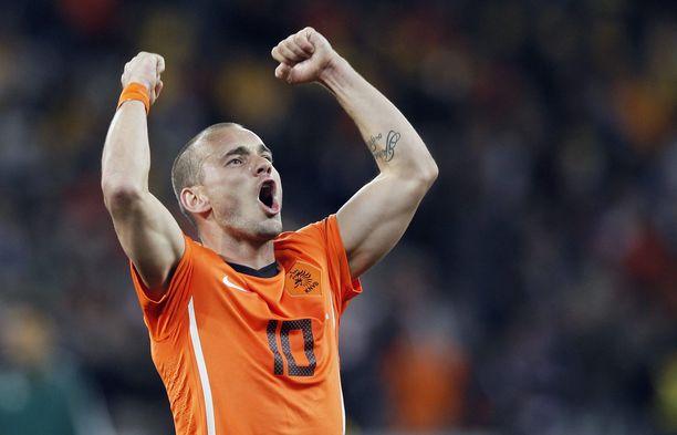 Wesley Sneijder voitti ajetun maalikuninkuuden vuoden 2010 MM-kisoissa. Verkko heilahti viiteen otteeseen.