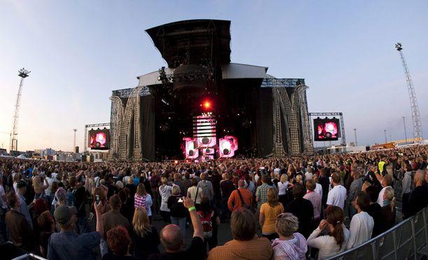 Tällaisissa puitteissa konsertoi Madonna Helsingin Jätkäsaaressa vuonna 2009.