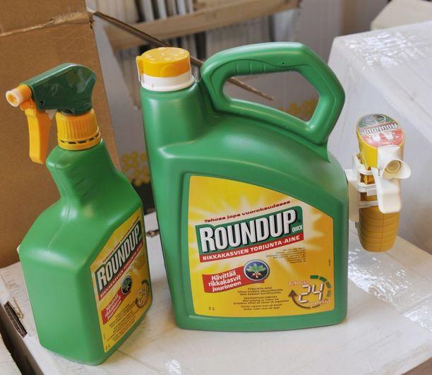 Roundup -kauppanimellä myytävä rikkakasvien torjunta-aine sisältää glyfosaattia.
