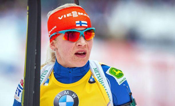 Kaisa Mäkäräinen ei tykkää SM-hiihtokysymyksistä.