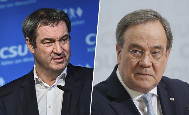 CSU:n johtaja Markus Söder (vas.) haastaa emopuolue CDU:n johtaja Armin Laschetin (oik.) kanslerikisassa.