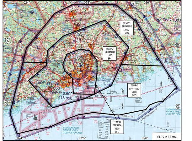 Kartta 2: Lentokieltoalue EFR416A, alueilla B1-B3 lentäminen ja lennättäminen ainoastaan vaatimusten mukaisesti.