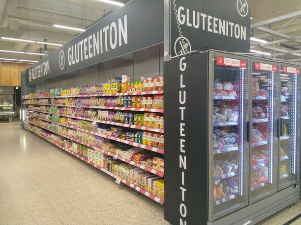 K-Citymarket Päivölän gluteenittomien tuotteiden osasto Seinäjoella. Sieltä ei vielä löydy irtokarkkeja.