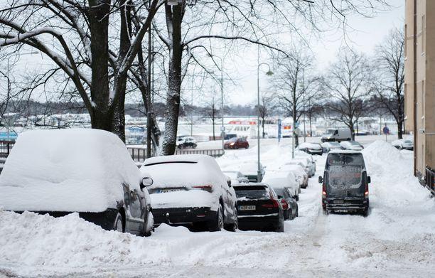 Lunta satoi runsaasti tammikuussa 2019 Helsingissä.