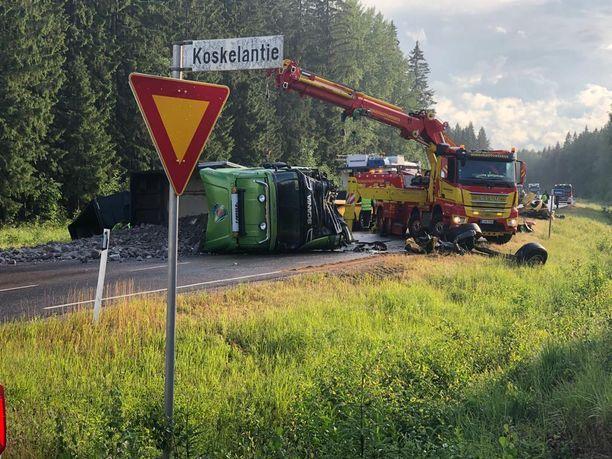 Eilen otettu kuva onnettomuuspaikalta.