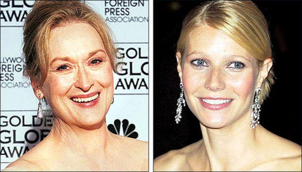 ANTAAKO IÄN NÄKYÄ VAI TAVOITELLAKO IKUISTA NUORUUTTA? Pitkän linjan näyttelijätär Meryl Streep antaa ilmeryppyjensä päästä esiin. Ennen luomun nimeen vannonut Gwyneth Paltrow on pettänyt joukot ilmoittamalla, että haluaa kauneusleikkaukseen.