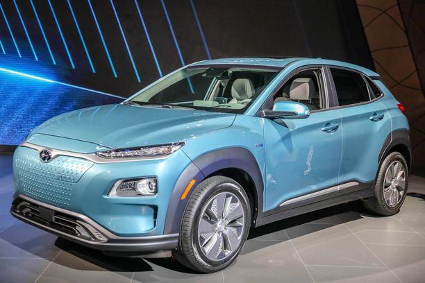 Hyundain Kona -sähköauto koki kovia Kanadassa. Tämä kuva on autonäyttelykuva.