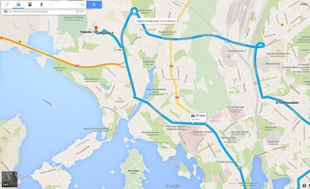 Useamman etapin reittejä voi rakentaa Google Mapsin selainversiossa Suomessakin, mutta ei vielä mobiilissa.