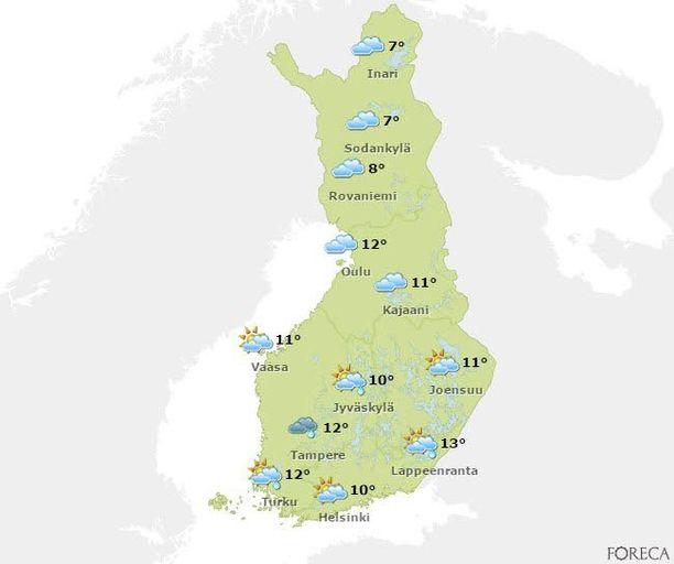 Vappupäivänä iltapäivällä vesisateet jatkuvat etelässä. Pohjoisessa voidaan selvitä kuivin jaloin.