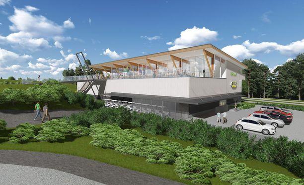 Golfkentälle tulee maisemaravintola.