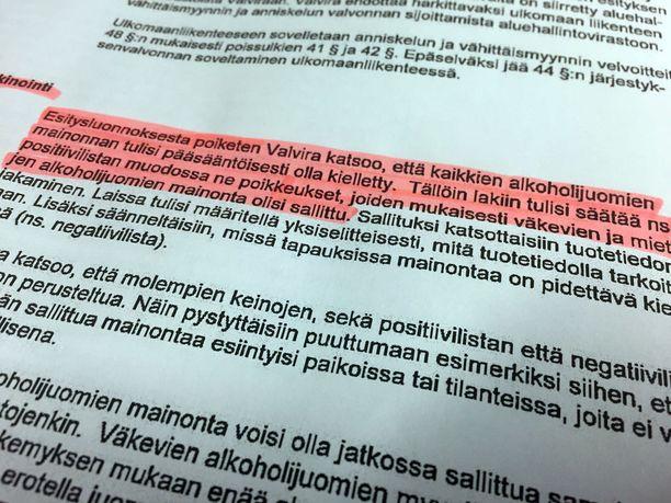 """Valvira vaatii 27.1.2017 päivätyssä lausunnossaan alkoholijuomien mainonnan lähtökohtaista kieltämistä. Poikkeukset listattaisiin """"positiivilistaan"""""""