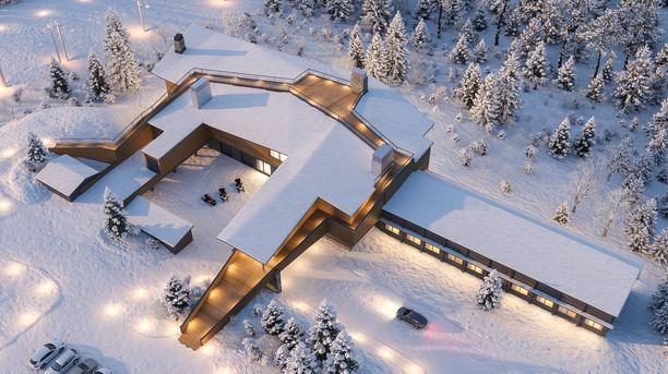 Tältä uuden rakennuksen on määrä näyttää ilmasta käsin.