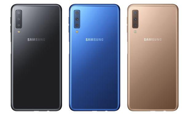 Samsung Galaxy A7:sta on valittavissa kolme eri värivaihtoehtoa: Musta, sininen ja kulta.