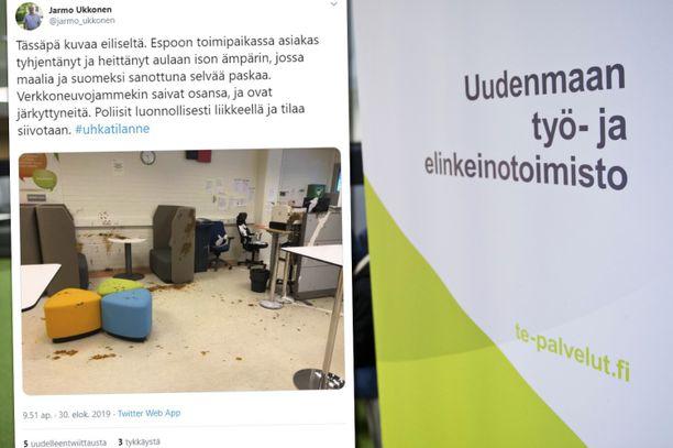 Törkyinen hyökkäys järkyttää TE-toimiston henkilöstöä Espoossa.