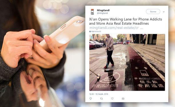 Kiinassa on avattu oma kävelykaista kännykkäkansallle.