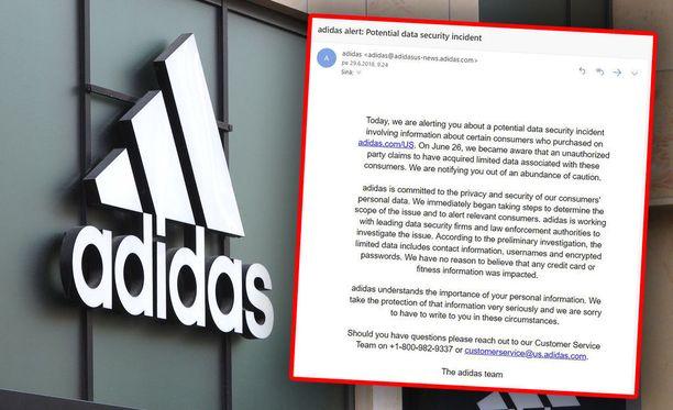 Adidas on lähettänyt asiakkailleen varoitussähköpostiviestejä.