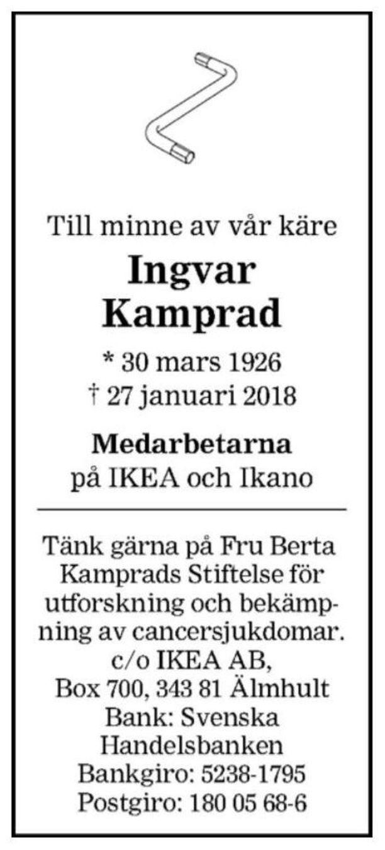 Ingvar Kampradin tänään Smålandspostenissa julkaistu kuolinilmoitus.
