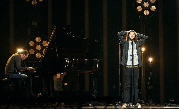 Salvador Sobral harjoitteli kappaleitaan aiemmin tänään.