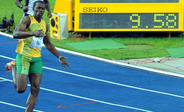 Usain Bolt juoksi satasen yhä voimassa olevan maailmanennätyksen 9,58 vuonna 2009.