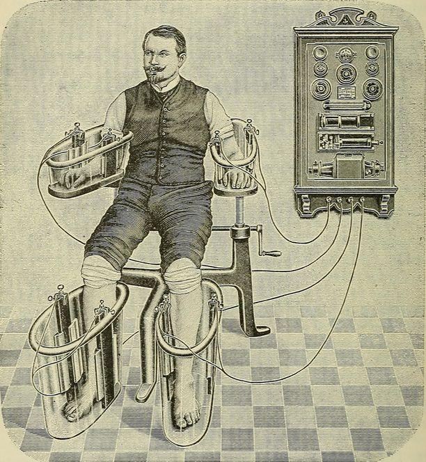 Sähkövirtaa johdettiin jalkoihin ja käsiin. Keho täyttyi miehisestä energiasta.