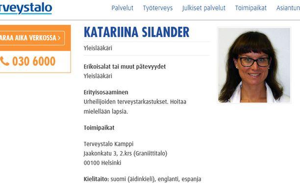 Sote-asiantuntijaryhmään Hiilamon tavoin kuuluva Katariina Silander on erikoistunut urheilijoille tehtäviin terveystarkastuksiin.